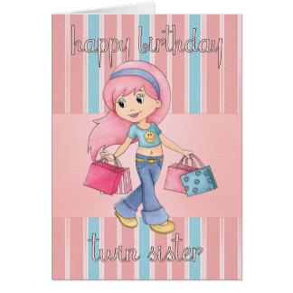 Tarjeta de cumpleaños gemela de las compras de la
