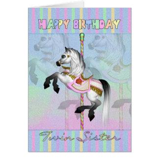 tarjeta de cumpleaños gemela del carrusel de la he