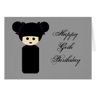 Tarjeta de cumpleaños gótica de Kokeshi