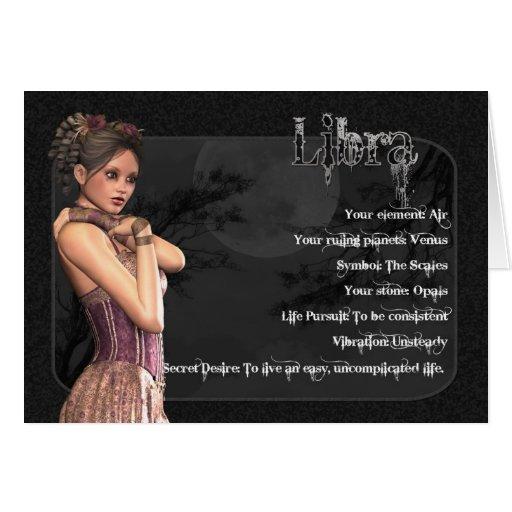 Tarjeta de cumpleaños gótica del zodiaco del libra