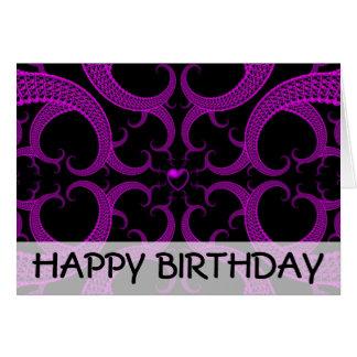 Tarjeta de cumpleaños gótica púrpura del fractal