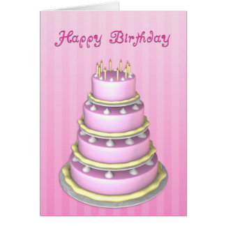 Tarjeta de cumpleaños grande de la torta