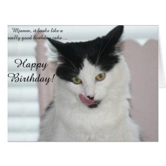 Tarjeta de cumpleaños grande: Gato listo para
