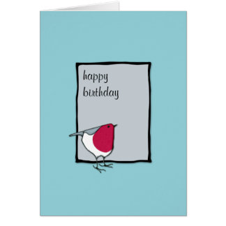 Tarjeta de cumpleaños gris del pequeño petirrojo