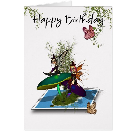 Tarjeta de cumpleaños - hadas góticas lindas que