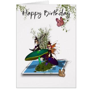 Tarjeta de cumpleaños - hadas góticas lindas que s
