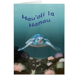 Tarjeta de cumpleaños hawaiana de la tortuga de ma