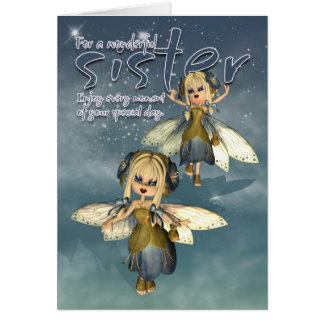 Tarjeta de cumpleaños - hermana - hadas de la empa