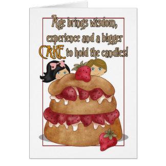 Tarjeta de cumpleaños - humor - torta
