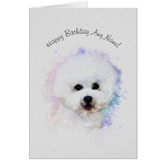 Tarjeta de cumpleaños ilustrada Frise de Bichon