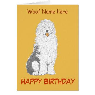 Tarjeta de cumpleaños inglesa vieja del perro de