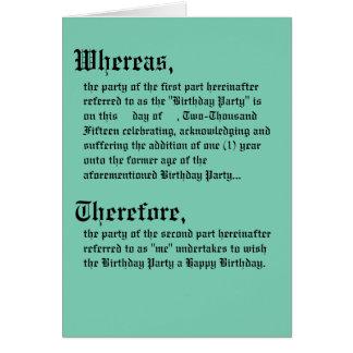 Tarjeta de cumpleaños legal del contrato