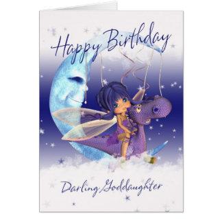 Tarjeta de cumpleaños linda de la ahijada, dragón