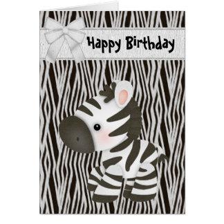 Tarjeta de cumpleaños linda de la cebra y de la