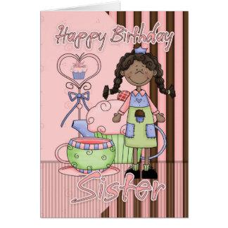 Tarjeta de cumpleaños linda de la hermana -