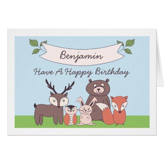 Tarjeta de cumpleaños linda de los animales del