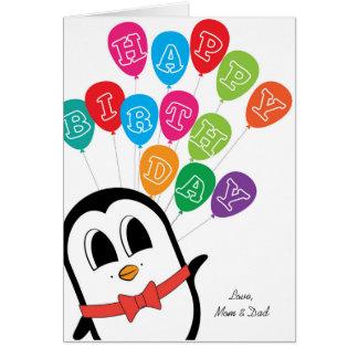 Tarjeta de cumpleaños linda del pingüino