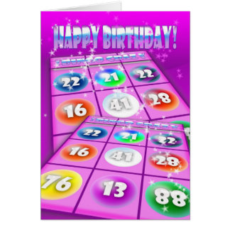 Tarjeta de cumpleaños loca del bingo