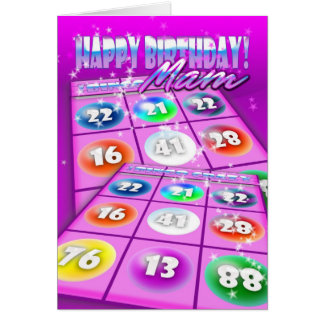 Tarjeta de cumpleaños loca del bingo de Mam