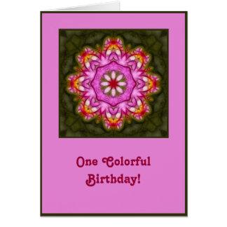 Tarjeta de cumpleaños magenta de la mandala