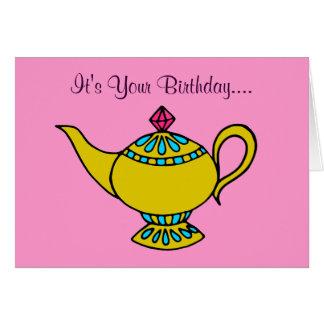 Tarjeta de cumpleaños mágica de la lámpara