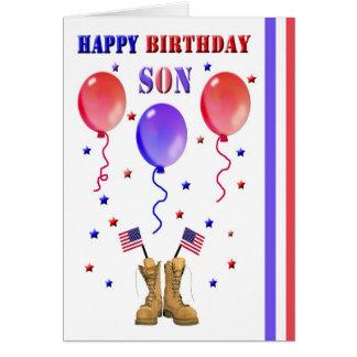 Tarjeta de cumpleaños militar del hijo