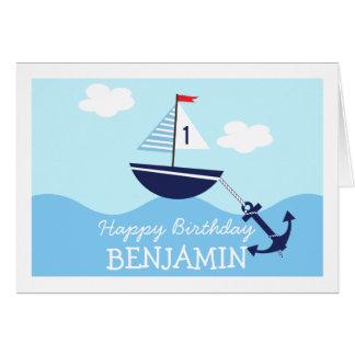 Tarjeta de cumpleaños náutica del barco de la vela