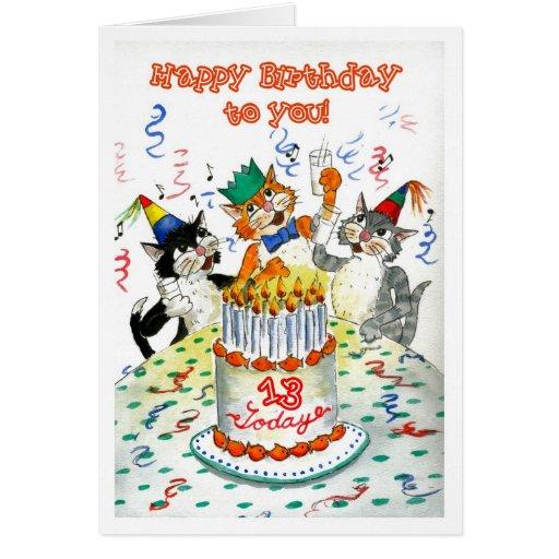 Tarjeta de cumpleaños para 13 años