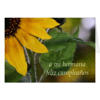 Tarjeta de cumpleaños para el español de la herman