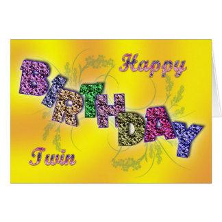 Tarjeta de cumpleaños para el gemelo con el texto