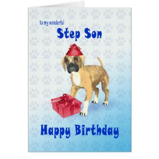 Tarjeta de cumpleaños para el hijo del paso con un