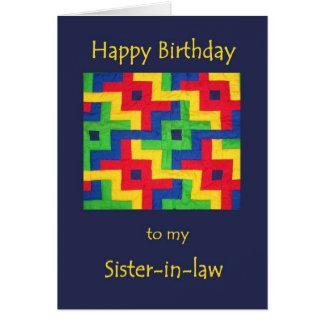 Tarjeta de cumpleaños para la cuñada - edredón de