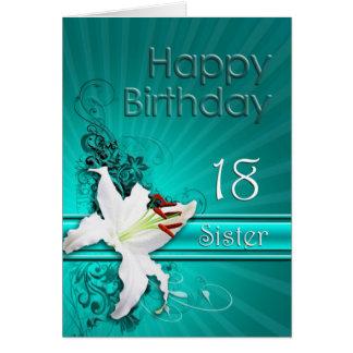 Tarjeta de cumpleaños para la hermana 18 con un