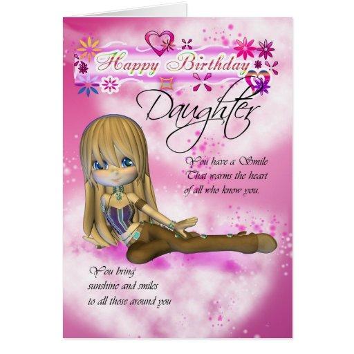 Tarjeta de cumpleaños para la hija, coll de la emp