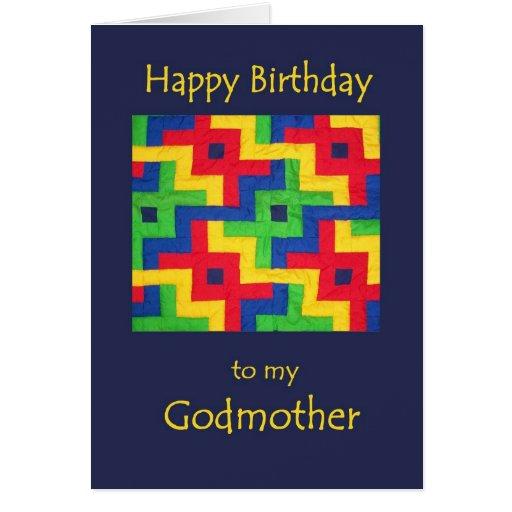 Tarjeta de cumpleaños para la madrina - edredón de