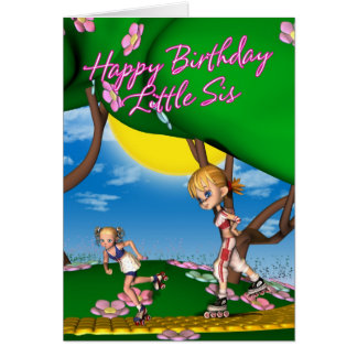 Tarjeta de cumpleaños para la pequeña hermana