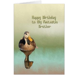 Tarjeta de cumpleaños para su Brother con el pato