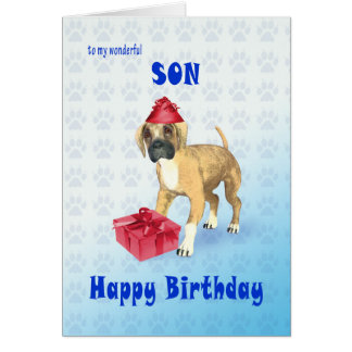 Tarjeta de cumpleaños para un hijo con un perrito