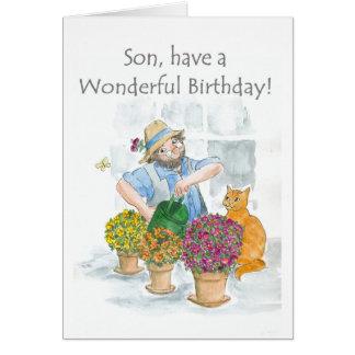 Tarjeta de cumpleaños para un hijo - cultivando un