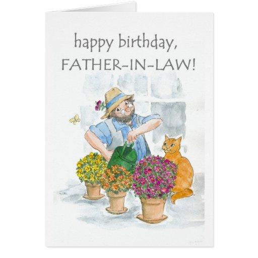 Tarjeta de cumpleaños para un suegro - cultivando