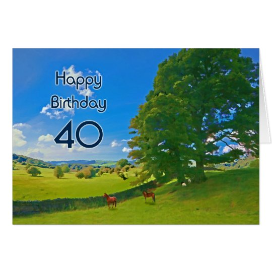 Tarjeta de cumpleaños pastoral de la pintura de