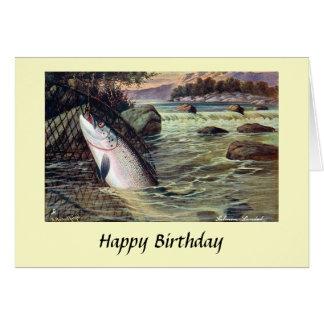 Tarjeta de cumpleaños - pesca - salmones