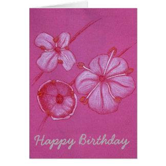 Tarjeta de cumpleaños pintada bonito de las flores