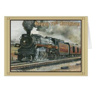 Tarjeta de cumpleaños por 70 años con el tren