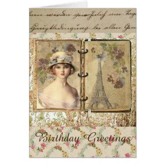 Tarjeta de cumpleaños preciosa del estilo del