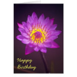 Tarjeta de cumpleaños púrpura de la flor de Lotus