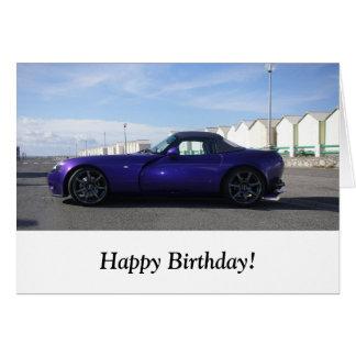 Tarjeta de cumpleaños púrpura de TVR