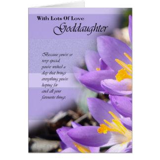 Tarjeta de cumpleaños púrpura del azafrán de la ah