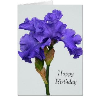 Tarjeta de cumpleaños púrpura del iris