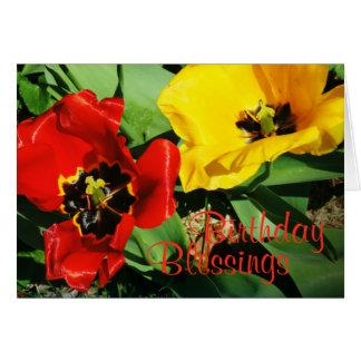 Tarjeta de cumpleaños religiosa de los tulipanes